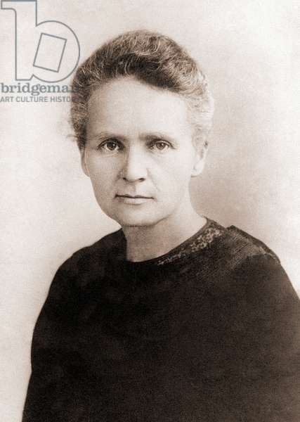 Portrait of Marie Curie (1867-1934) (sepia photo)
