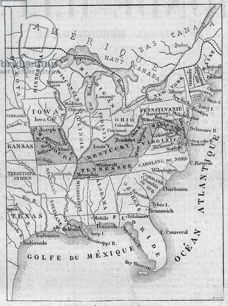 "Map of Slavery in the United States, 1863: Black parts indicate American states where slavery was not abolished by President Abraham Lincoln's Emancipation Proclamation on January 1, 1863. Engraving in """" Le Monde Illustrous"""" n°304 of February 7, 1863."