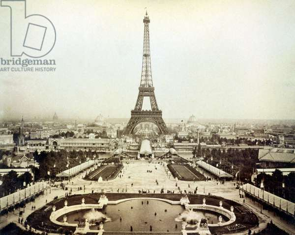 View of the 1889 Universal Exhibition in Paris and the Eiffel Tower.