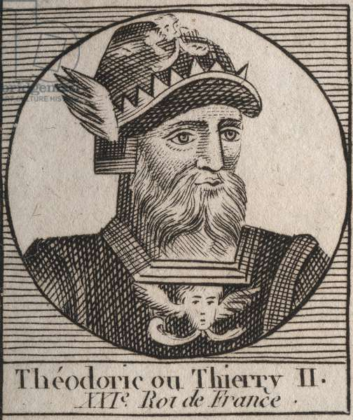 """Portrait of Thierry II (587-613) King of the Francs of Austrasia and Burgundy from 595 to 613 - THIERRY II (Theuderic or Theuderich, Theoderic, or Theodoric II) king of Burgundy and Austrasia - engraving from """"Instruction sur l'Histoire de France"""""""" by Charles Constant Le Tellier 1821"""