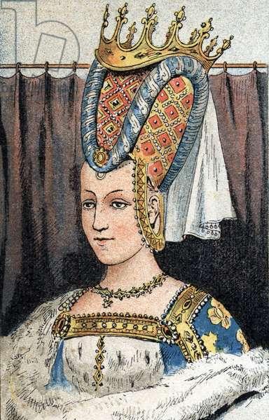 Portrait of Isabeau (Isabelle, Elisabeth) de Baviere (1371-1435), wife of Charles VI of France. (Capetian dynasty).