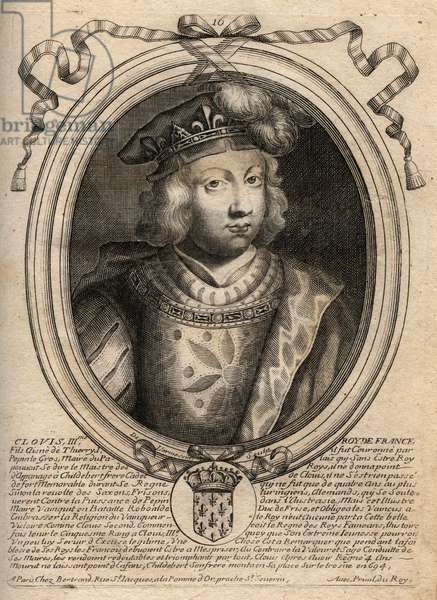 Portrait of Clovis III, king of the Francs from 691 to 695 - CLOVIS III Merovingian king of Neustria and Austrasia - engraving from 'Les Augustes Representations de tous les Kings de France from Pharamond to LouisXIV', Paris, 1679 by Larmessin (family of engravers) (1600-1799)