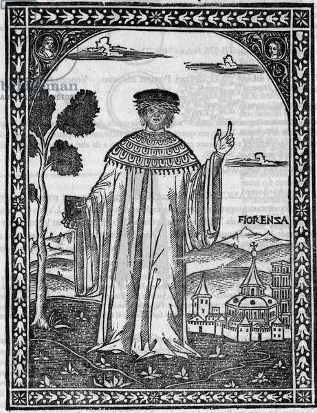 """Portrait of the Italian poet Francesco Petrarca (Petrarque, 1304-1374). In """""""" Petrarcha con doi commenti sopra li sonetti et canzone"""""""". Venezia 1503."""
