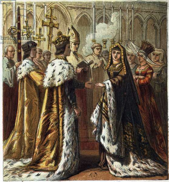 """Marriage of Henry VII, King of England (1457-1509) to Elizabeth of York (1466-1503) on 18 January 1486. Marriage of Henry Seventh and Elizabeth of York. chromolithography in """""""" Pictures of English History"""""""" published by George Routledge & Sons.1890. Privee Collection."""