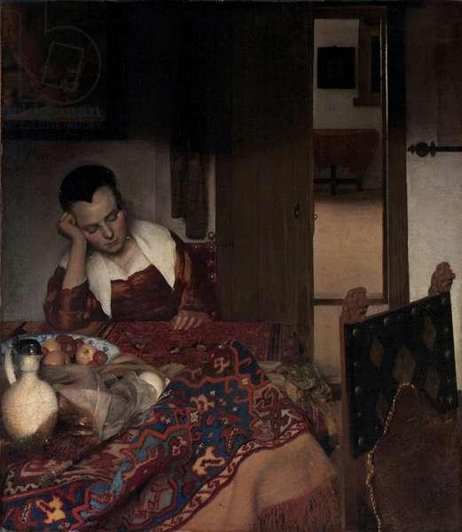 A Sleeping Girl - Painting by Johannes Vermeer (Vermeer de Delft) (1632-1675), oil on canvas, 1657, 87,6x76,5 cm. The Metropolitan Museum of Art, New York