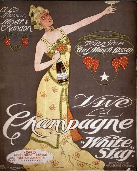 "At the Maison Moët et Chandon - Waltz cheerful by Carl Munch Lassen - Vive la Champagne """" White Star"""". n.d. early 20th century."