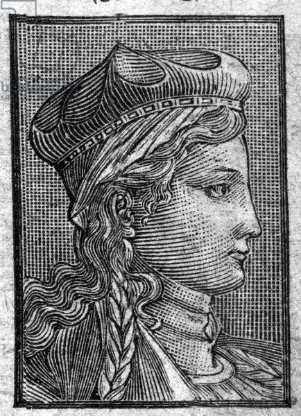 Portrait of Brunehaut (or Brunehilde) (ca. 534 to 613) wife of Sigebert I.