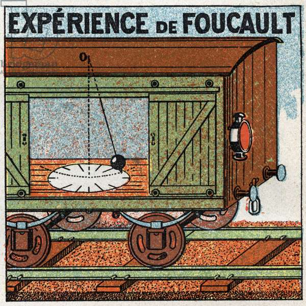 The pendulum: experience of the pendulum by Leon Foucault (1819-1868) made in the wagon of a moving train. Anonymous illustration from 1925. Private collection.