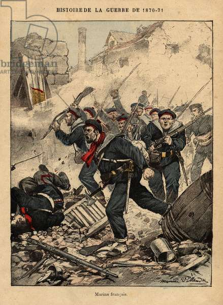 """French sailors - Engraving by Maurice Pallandre in """"The fighters of 1870-71"""" by the commander Leonce Rousset (1850-1938) - Franco-German war"""""""" (1870-1871) - Franco Prussian War - (Deutsch-Franzosischer Krieg)"""