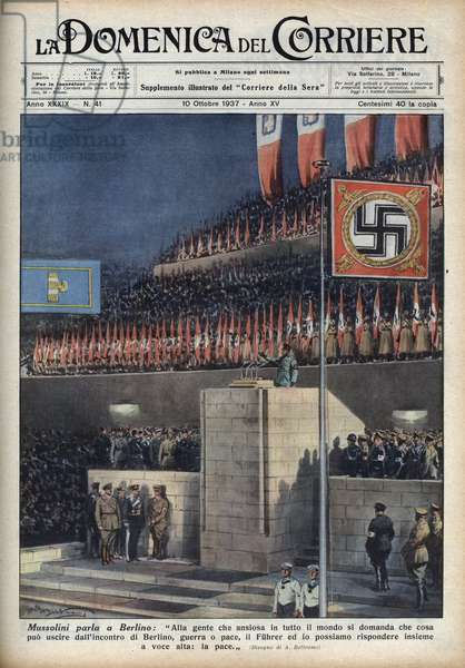 "Duce Benito Mussolini depicts at a speech in Berlin, Germany, the flags adorned with the cross range of Nazi Germany. Illustration by Achille Beltrame from ""La domenica del corriere"""" of 10/10/1937."