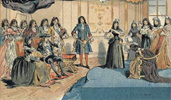 """Representation of """""""" Athalie """""""" by Jean Racine before Louis XIV (1638-1715) and Madame (Mariquise) de Maintenon (Francoise d'Aubigne, 1635-1719)""""."""