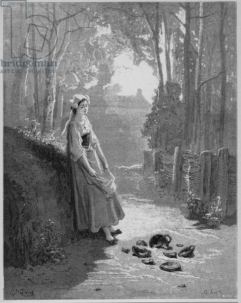 La laitiere et le pot a lait - The milkmaid and her pail - from 'Fables' by Jean de La Fontaine (Lafontaine) (1621-95) - engravin after Gustave Dore (1832-83) - Private collection