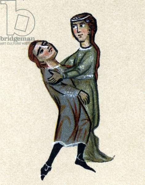 A Troubadour of the Middle Ages, illustration from 'Histoire de la Literature Francaise' by Hermann Suchier, 1913 (colour litho)