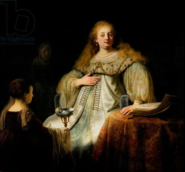 """Artemisia Receiving Mausolus' Ashes - Artemise receiving the cup that contains the ashes of her husband"""""""", 1634 - painting by Harmensz van Rijn Rembrandt 1606-1669. Prado, Madrid, Spain"""