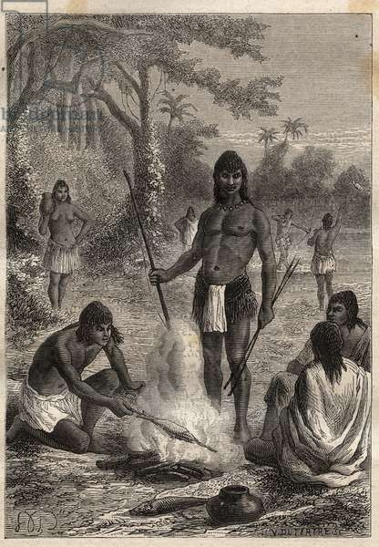 """Expedition to America (1799-1804) by Alexander von Humboldt (1769-1859) and Aime Bonpland (1773-1858): Omaguas Indians (Amazonia, Peru) - illustration from """"The Great Mariners of the 18th century"""", 1879 - 1 of the 3 volumes of the """"Histoire generale des grands voyages et des grands voyageurs"""" by Jules Verne"""