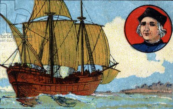 Discovered from America by Christopher Columbus (Cristoforo Colombo, Cristobal Colon, 1451-1506). Chromolithography of 1936.