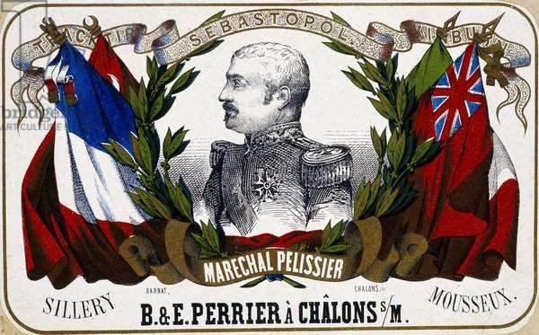 """Portrait of Maréchal Pelissier on a champagne label """""""" B. & E. Perrier à Chalôns sur Marne"""""""", sd. 19th century."""
