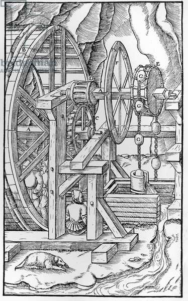 """Winch for drawing water from mines: """"De Re Metallica"""""""" by Georgius Agricola, known as Agricola, by his real name Georg Pawer or George Bauer (1494-1555) Hydraulic machine"""