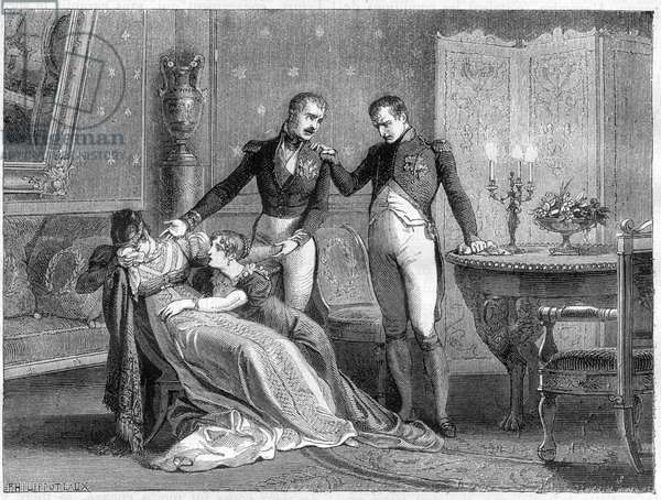 "Napoleon announces to Josephine the scheduled day for signing the divorce papers, 1809 - Long family interview in which divorce is definitively agreed between Napoleon and Josephine on 30 November 1809 - in ""Histoire de l'empire faisant suite à l'histoire du consulate"""" by Adolphe Thiers - 1879 - private collection"