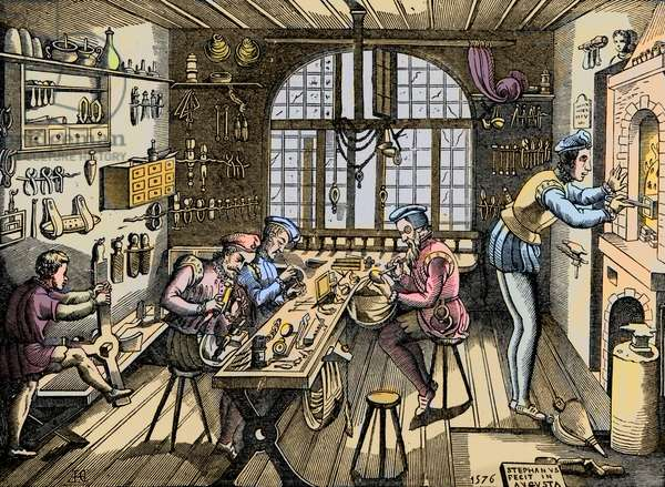 A goldsmith's workshop - Craft: view of the workshop by Etienne Delaune (1518-1583), goldsmith, French printer. Engraving after an original from 1576. Workshop of Etienne Delaulne, a goldsmith in Paris, 1500s.
