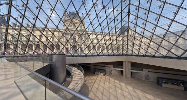 The Pyramid of Pei at the Louvre Museum in Paris. Mention: Pyramid du Louvre. Architect: Ieoh Ming Pei.