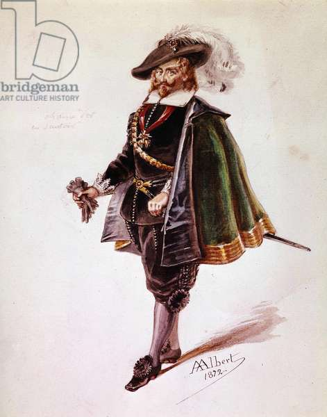 Don Salluste costume for Victor Hugo's Ruy Blas. Drawing by Albert of 1872. Maison Victor Hugo, Paris.