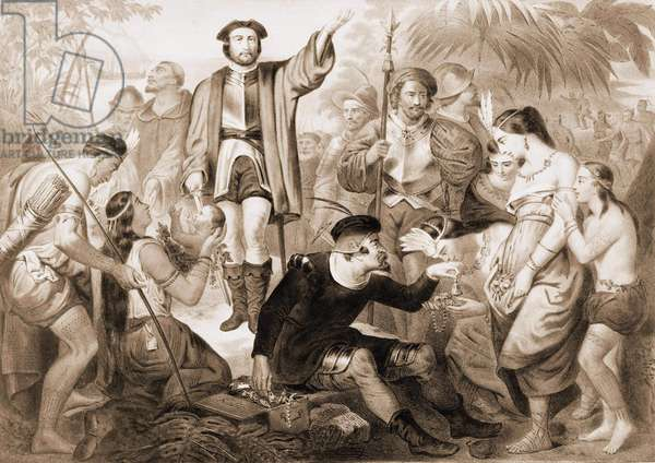 Christopher Columbus among the Indians.