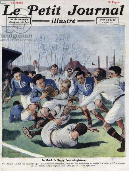 """Rugby match between France and England, from """"Le petit journal illustré"""" of 03/04/1920 (engraving)"""