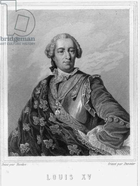 "Portrait of Louis XV (1710 - 1774), King of France - in ""Histoire des Français"""" by Lavallée, engraving, sd., 19th century."