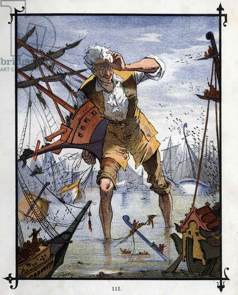 """Lemuel Gulliver at the center of a naval battle between the ships of Lilliput and Blefuscu. Illustration for """""""" Gulliver's Voyages """""""" by Jonathan Swift (1667-1745)"""