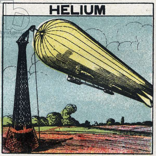 New gas properties: zeppelin inflates with helium. Anonymous illustration from 1925. Private collection.