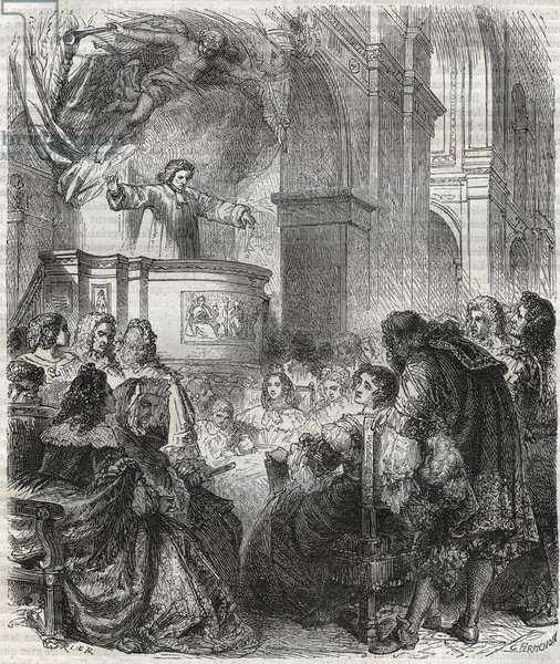 Marie de Rabutin-Chantal (Rabutin Chantal), Marquise of Sevigne known as Madame de Sevigne (1626-1696), listen to Louis Bourdaloue (1632-1704) French at the church of jesuites, Saint-Louis in Paris - engraving of 1866