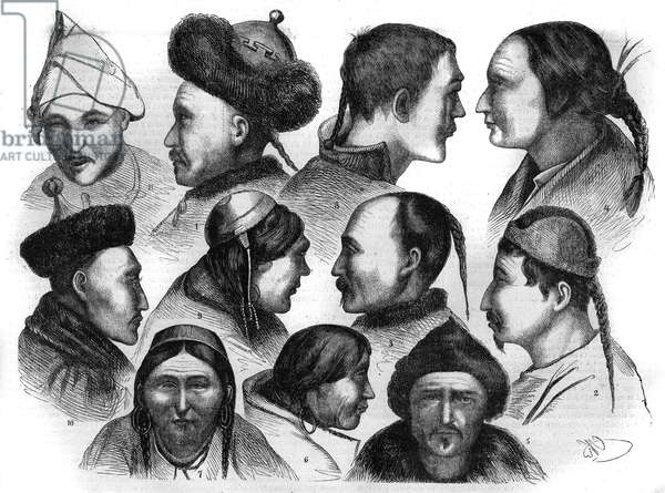 """Type of indigenous peoples of Eastern Siberia, Russia: 1. Sungari Central Daure; 2. and 11. Virar tonguse of the Buria Mountains; 3. Central Sungari Solon; 4. Western Baikal Tongouse; 5. Chief of the Eastern Saya Soyotes; 6. 7. 8. 9. Buriates of Olchon Island; 10. Lama of the Selenza Valley. Engraving after a drawing by Gustave Radde. Engraving in """""""" The Illustrious Universe"""""""", 1868. Private collection."""