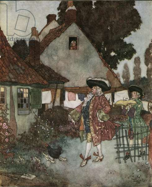 Cinderella (Cinderella): the minister, searches in all the cottages and houses of the kingdom the girl who lost her slipper of vair c.1910 (lithograph)