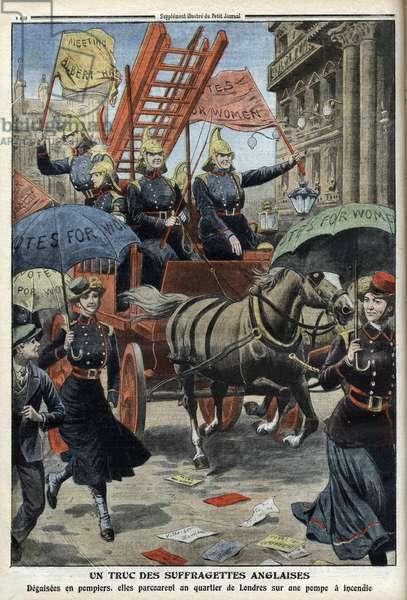 """English suffragettes dressed as firemen, from 'Le Petity Journal', 3rd April 1910 - Un truc des Suffragettes anglais - les suffragettes anglais, disguisees as firemen, tour un quartier de London - """""""" Le Petite journal"""""""" from 3-4-1910"""