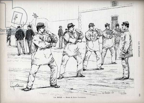 """La Boxing - French Armees - drawing by Leon Couturier (1842-1935) - for """""""" The Flag"""" - Monitor of the League of Patriotes"""" - August 22, 1885"""