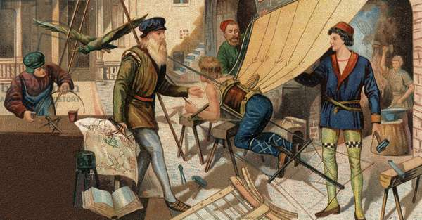 Leonardo da Vinci (Leonard de Vinci 1452-1519) experimenting with his flying machine. Chromolithography of the 19th century.