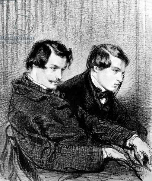 Goncourt brothers - Edmond de Goncourt (1822-1886) and Jules de Goncourt (1830-1870) in a box at the theatre, 1853 - Drawing of Paul Gavarni (1804-1866) - Portrait of Edmond Goncourt (1822-1896) and Jules Goncourt (1830-1870) brothers writers. Drawing by Paul Gavarni (1804-1866)