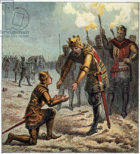100-year war: Edward Plantagenet (Edward of Woodstock Brackembury, 1330-1376), called the Black Prince, prostrates himself before his father, King Edward III of England (1312-1377), after defeating the French army at the Battle of Crecy on 26 August 1346. The Black Prince, Edward, kneeling to receive Edward the Third blessing after the battle of Crecy.