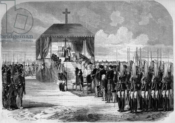 """Chalons military camp, 1857: celebration of mass in the presence of the troops. Marne (51). From a drawing by Armand Dumaresq. Engraving in """""""" Le Monde Illustré"""""""" n°23 of 19 September 1857."""