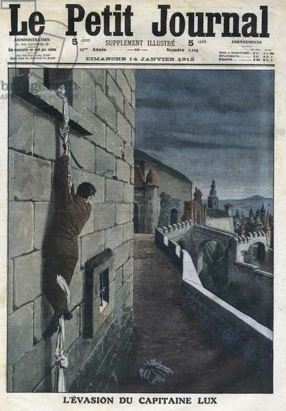 """Captain Charles Lux's escape from Glatz prison suspected of espionage by the Leipzig court on Christmas Eve, in """"Le Petit Journal"""", on 14/01/1912 (engraving)"""