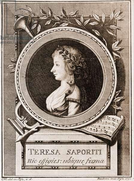 Portrait of Teresa Saporiti, 1791 (engraving)