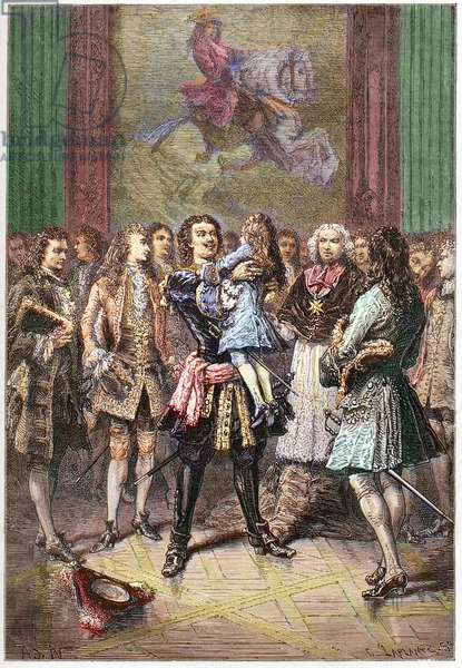 """The Russian tsar Peter I the Great (1672-1725) holding King Louis XV in his arms in Versailles in 1717 - PETER I (1672-1725) Czar of Russia, 1682-1725 embraces the young King Louis XV at Versailles palace during his visit to France in 1717 - engraving from """""""" L'histoire de France racontee a mes grandenfants"""""""" - by Francois Guizot - 1872-1876"""