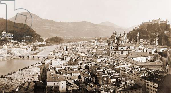View of Salzburg in Austria, anonymous photograph at the beginning of the 20th century.