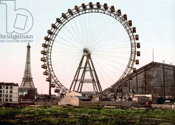 The Grande Wheel of Paris. The Eiffel Tower in the 2nd plane. Photochrome around 1900.