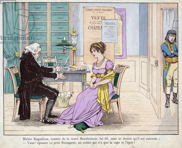 "Josephine and the notary - Maitre Raguideau, notary of the widow Beauharnais, said to him, Ye! marry this little Bonaparte - Master Raguidea and Josephine - (You! Marry this little Bonaparte) - lithograph by Job (Jacques Onfroy de Breville) from """" Le Grand Napoleon des Petites Enfants"""""" 1893"