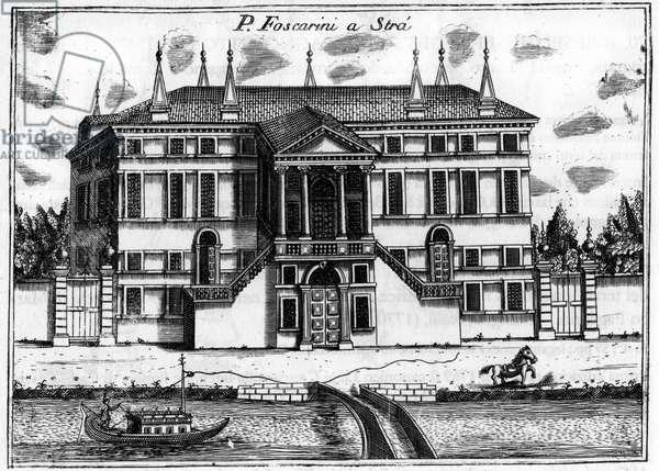 """The palace (Palazzo) Foscarini a Stra near Venice. in """""""" Singolarita di Venezia"""""""" by Vincenzo Coronelli (1650-1718)."""