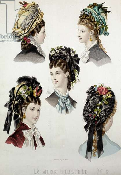 Ladies hairstyles - engraving, late 19th century