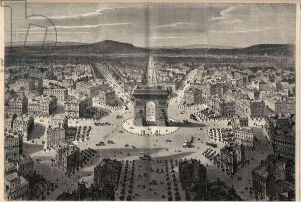 """Transformations of Paris under the Second Empire, Haussmann Paris: general view of the roundabout of Place de l'Etoile. Engraving in """""""" L'Univers illustrious"""""""", 1868."""
