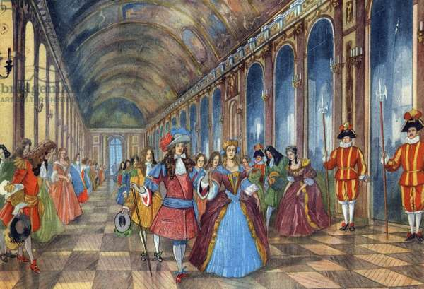 """King of France Louis XIV and his courtyard in the ice gallery of the castle of Versailles. Illustration in """"Belles images d'histoire"""" by H. Geron and A. Rossignol. Around 1950.Collection Prive."""